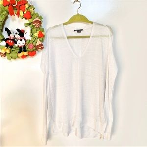 Vince Loose Fit Linen Long Sleeve Sweater Tunic S